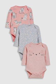 Next Cat/Leopard Print Long Sleeve Bodysuits Three Pack (0mths-2yrs)