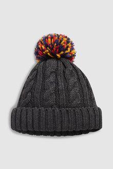 Next Cable Contrast Bobble Hat