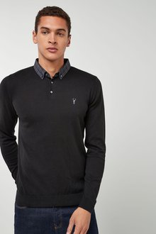 Next Woven Collar Knitted Polo