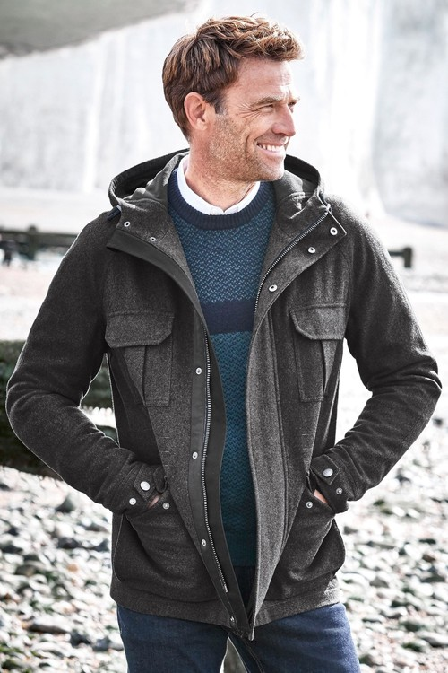 Next Hooded 4 Pocket Wool Blend Jacket