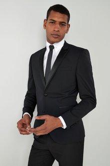 Next Wool Blend Tuxedo Suit: Jacket - Skinny Fit