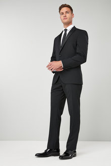 Next Wool Blend Tuxedo Suit: Jacket - Tailored Fit