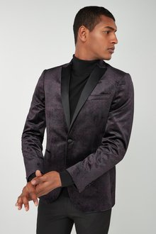 Next Printed Velvet Slim Fit Dinner Jacket