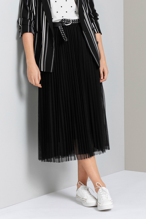 Emerge Tulle Pleated Midi Skirt
