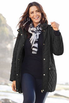 Plus Size - Sara Quilted Long Jacket - 223483