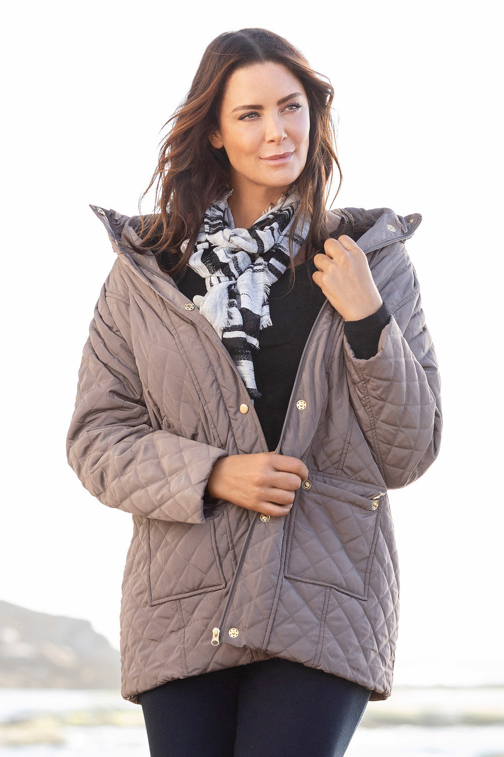 2fd16e1acc6 Plus Size - Sara Quilted Long Jacket