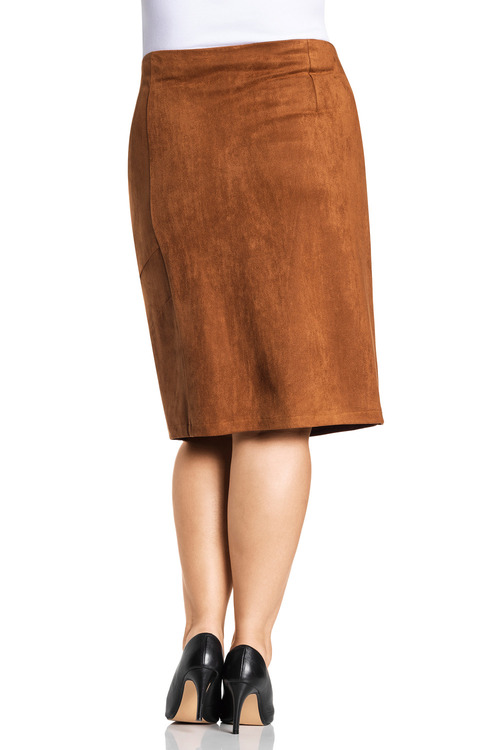 Plus Size - Sara Sliced Suedette Skirt