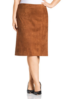 Plus Size - Sara Sliced Suedette Skirt  - 223484