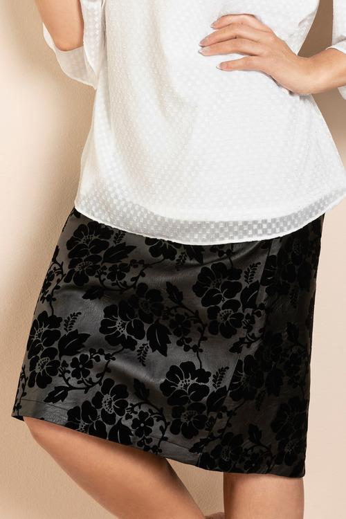 Plus Size - Sara Flower Detail Pleather Skirt