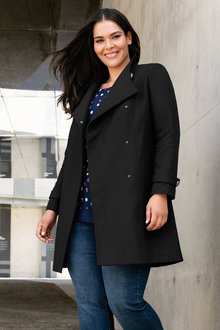 Plus Size - Sara Button Coat