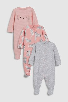 Next Cat Print Sleepsuits Three Pack (0mths-2yrs)