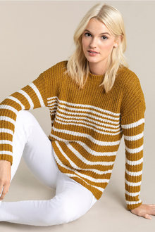 Emerge Textured Stripe Crew Neck Sweater - 223516
