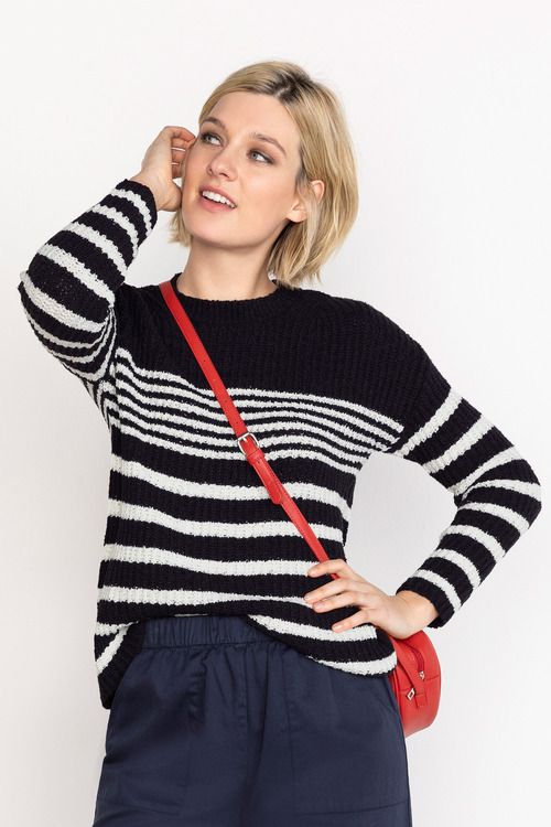 Emerge Textured Stripe Crew Neck Sweater