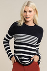 Emerge Textured Stripe Crew Neck Sweater