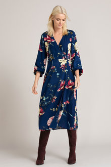 Emerge Wrap Long Sleeve Midi Button Dress