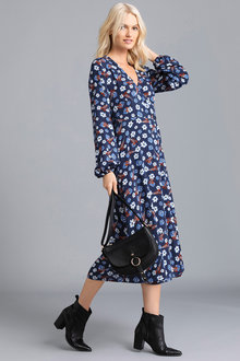 Emerge Wrap Long Sleeve Midi Button Dress