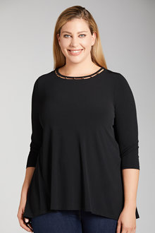 Plus Size - Sara Beading Detail Top