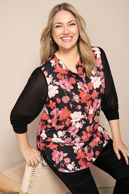 Plus Size - Sara Long Sleeve Placket Shirt