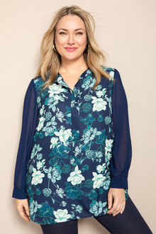 Plus Size - Sara Long Sleeve Placket Shirt - 223559