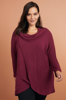 Plus Size - Sara Button Cowl Top - 223561