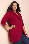 Plus Size - Sara Button Cowl Top