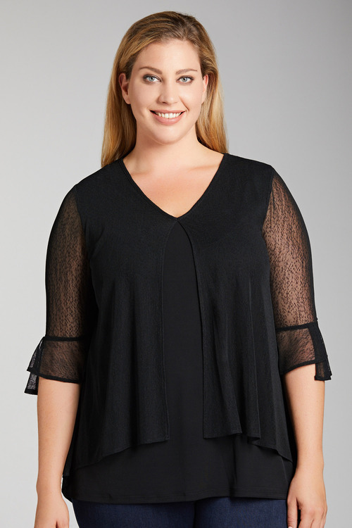 Plus Size - Sara Mesh Layer Top