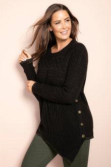 Plus Size - Sara Cable Asymmetric Sweater