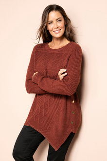 Plus Size - Sara Cable Asymmetric Sweater