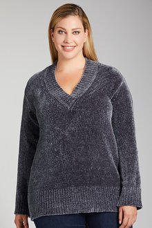 Plus Size - Sara V Neck Chenille Sweater