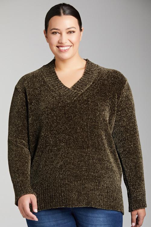 Plus Size - Sara V Neck Chenille Sweater