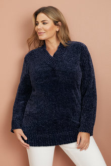 Plus Size - Sara V Neck Chenille Sweater - 223601