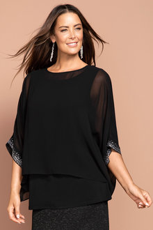 Plus Size - Sara Beaded Cuff Top