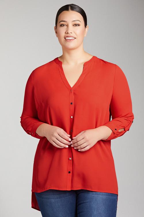 Plus Size - Sara Square Button Shirt