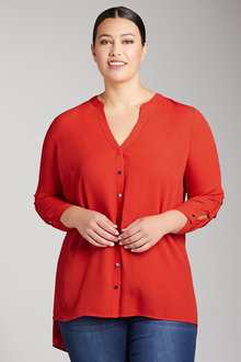 Plus Size - Sara Square Button Shirt - 223605