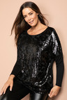 Plus Size - Sara Long Sleeve Sequin Top