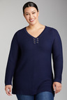 Plus Size - Sara Lace up Rib Sweater