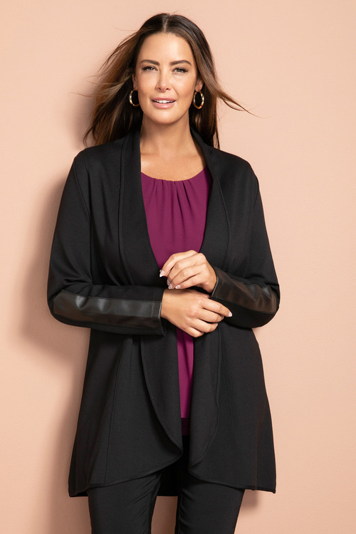 Plus Size - Sara PU Trim Jacket