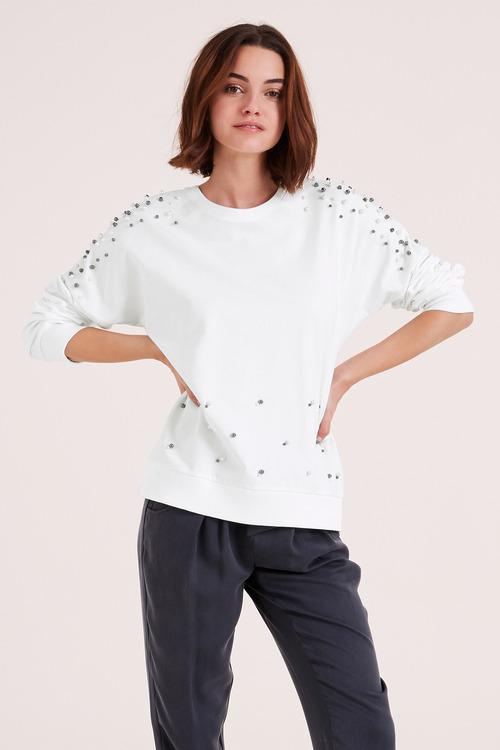 Urban Pearl Detail Sweatshirt