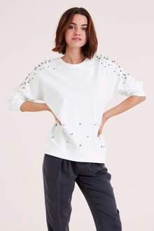 Urban Pearl Detail Sweatshirt