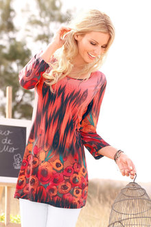 Capture European Floral Border Print Tunic