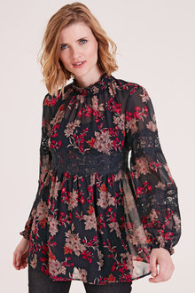 Heine Lace Detail Floral Top