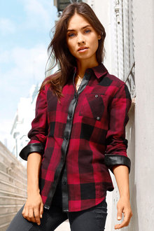 Urban Check Shirt With Pleather Trim - 223682