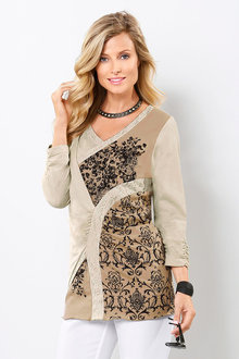 Euro Edit Lace Print Long Top - 223686