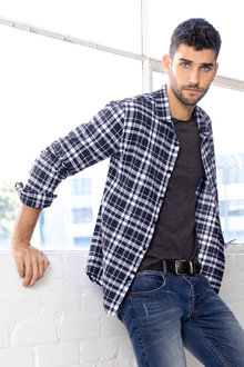 Mens Checked Linen Shirt