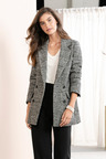 Grace Hill Wool Blend Double Breasted Check Coat