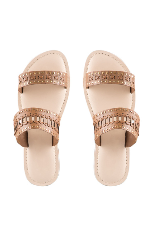 Plus Size - Sara Wide Fit Leather Taylor Sandal Flat