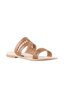 Sara Wide Fit Leather Taylor Sandal Flat