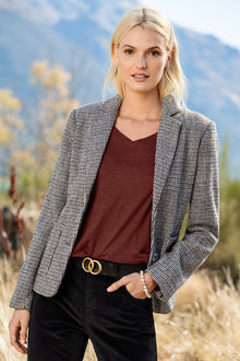Emerge Wool Blend Tweed Check Blazer