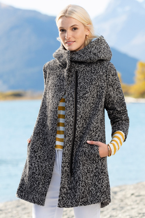 Emerge Wool Blend Boucle Hooded Coat