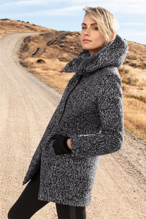 Emerge Wool Blend Boucle Hooded Coat